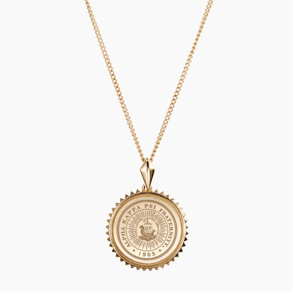 Gold Alpha Kappa Psi Sunburst Crest Necklace