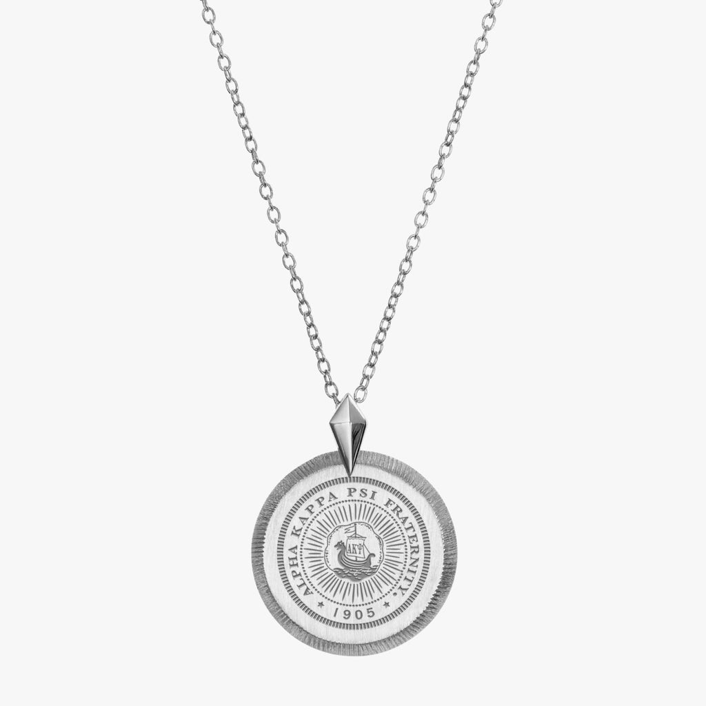 Sterling Silver Alpha Kappa Psi Florentine Necklace Petite