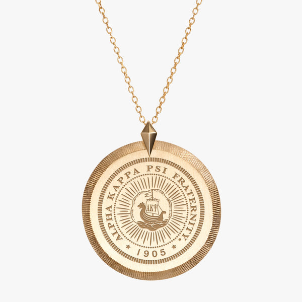 Gold Alpha Kappa Psi Florentine Crest Necklace