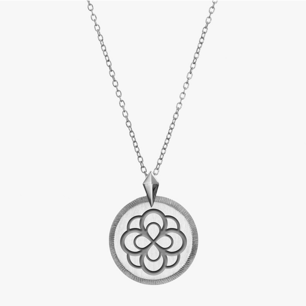 Sterling Silver Alpha Omicron Pi Florentine Rose Necklace Petite