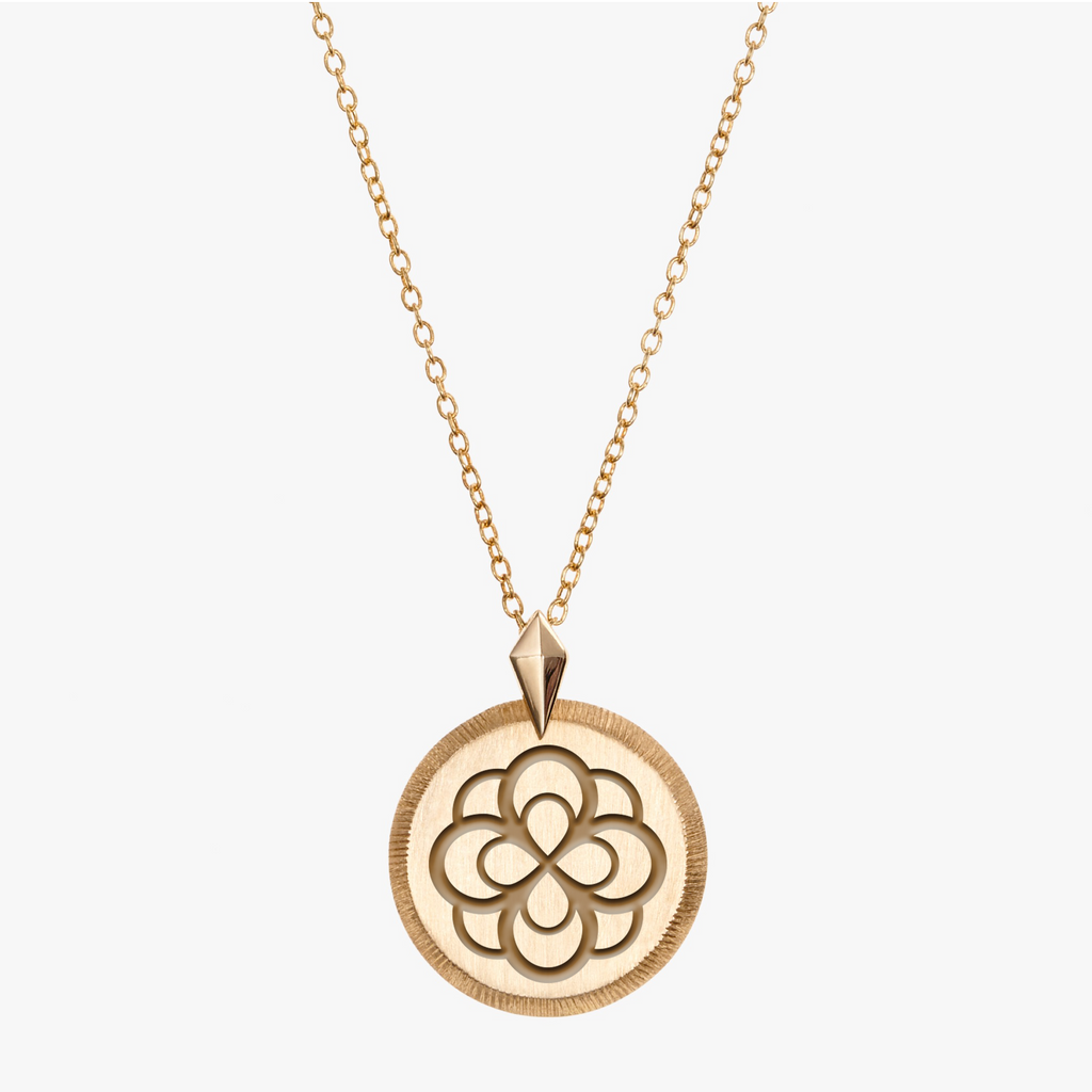 Gold Alpha Omicron Pi Florentine Rose Necklace Petite