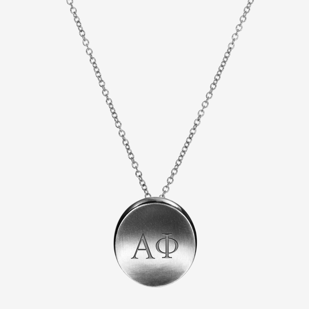 Sterling Silver Alpha Phi Letters Necklace