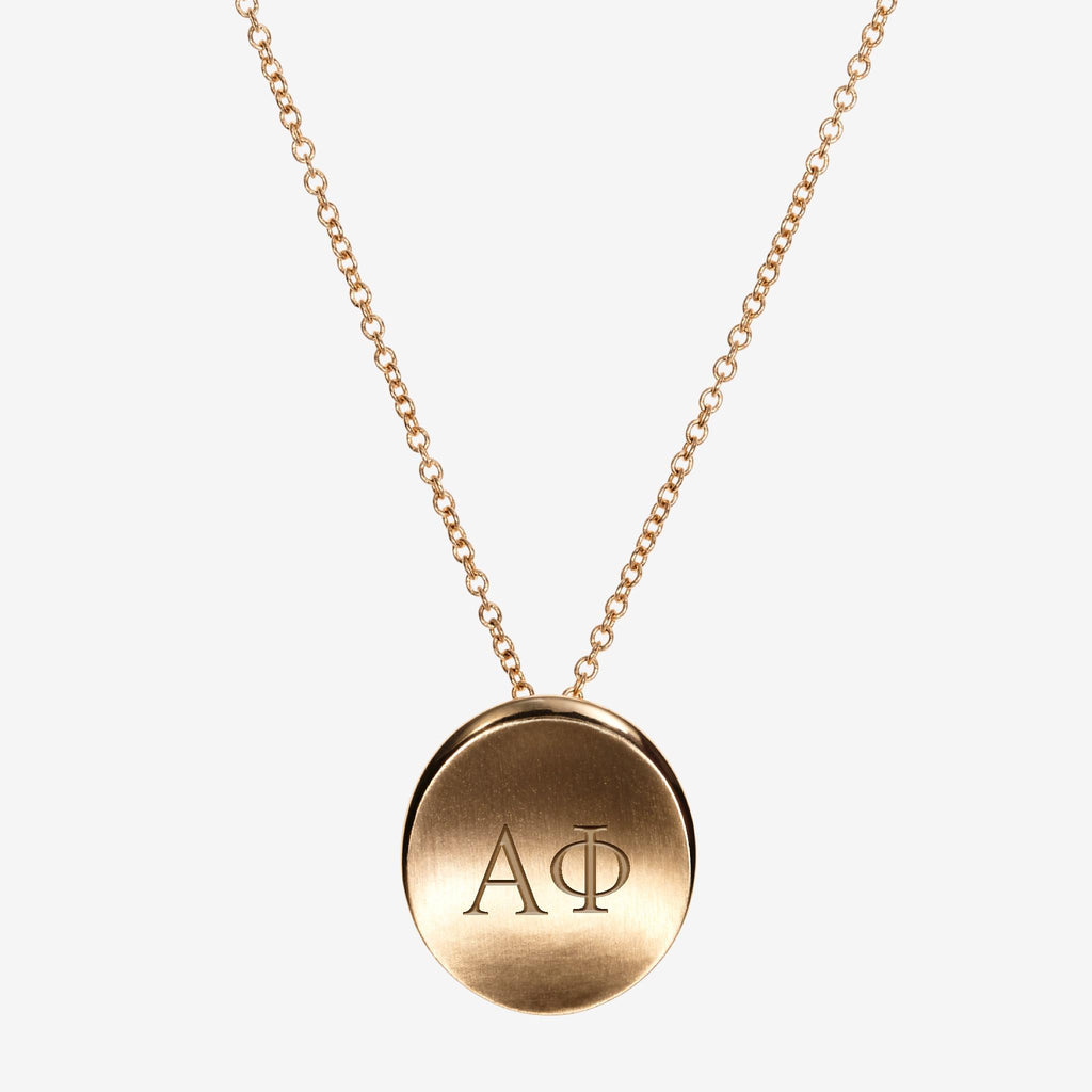 Gold Alpha Phi Letters Necklace