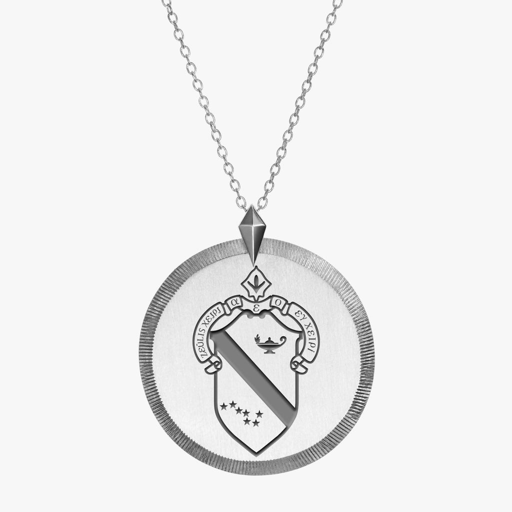 Sterling Silver Alpha Phi Florentine Crest Necklace