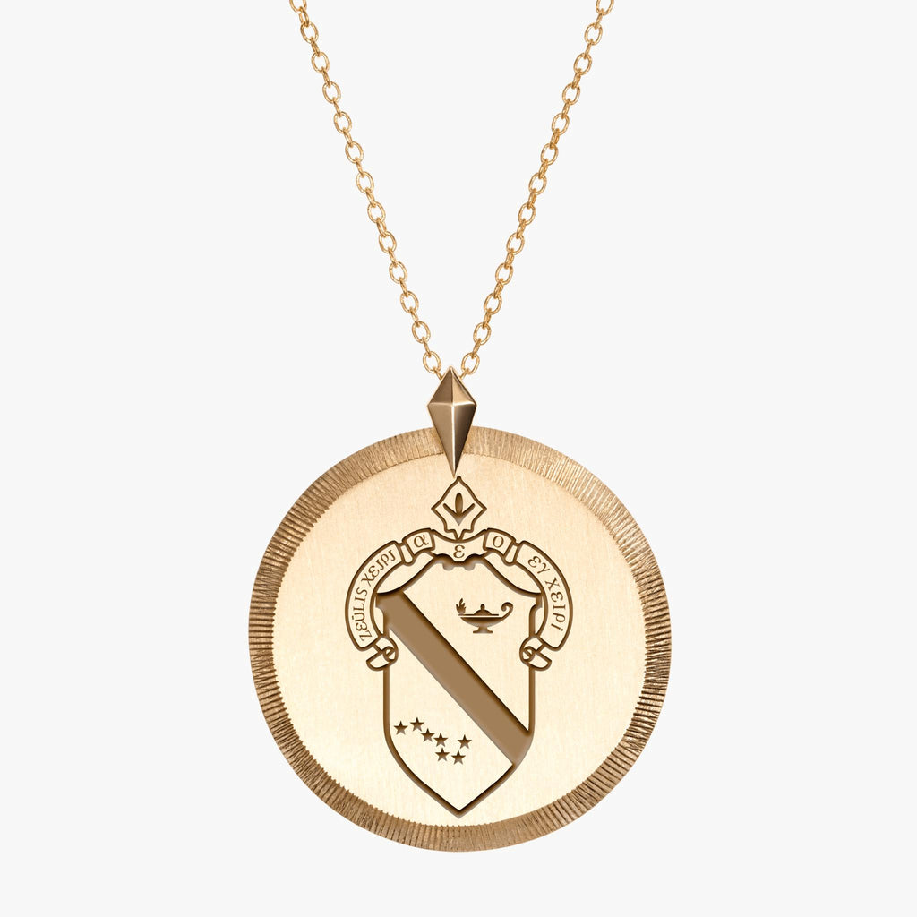 Gold Alpha Phi Florentine Crest Necklace
