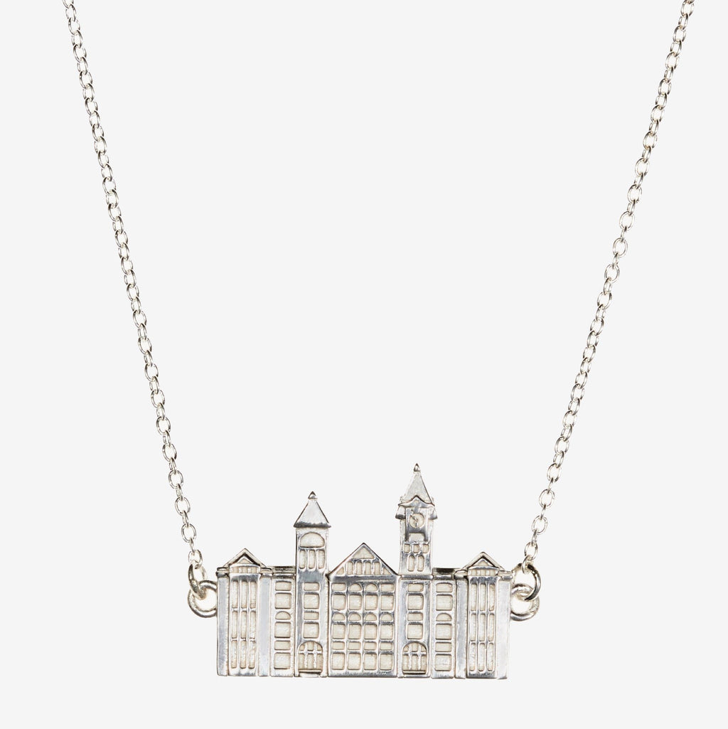 Silver Auburn Samford Hall Necklace