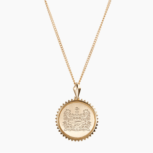Gold Alpha Xi Delta Sunburst Crest Necklace