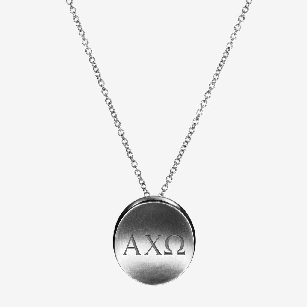 Sterling Silver Alpha Chi Omega Letters Necklace