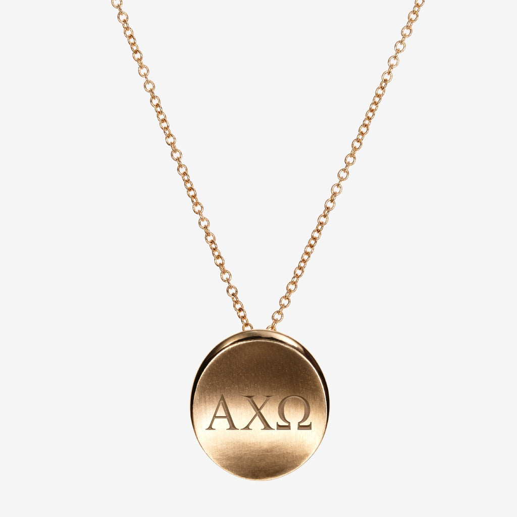 Gold Alpha Chi Omega Letters Necklace