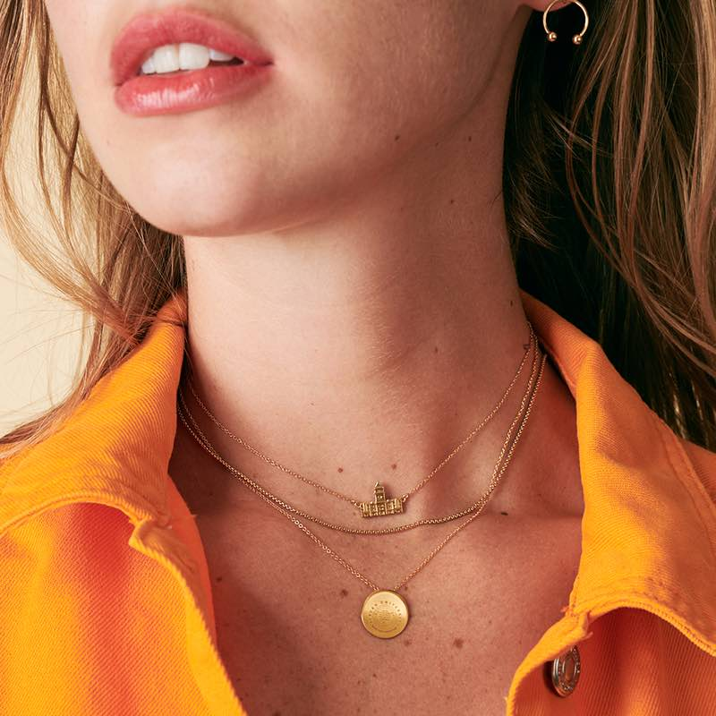 Alpha Chi Omega Letters Necklace on Model