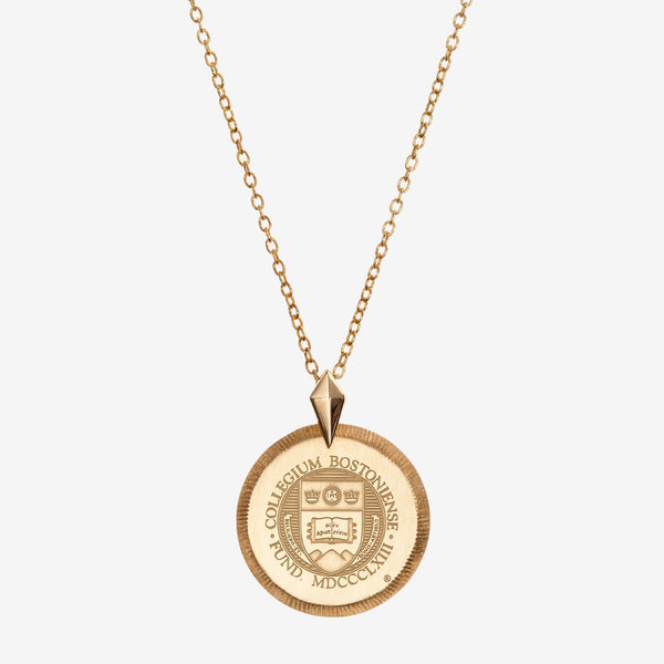 Gold Boston College Florentine Crest Necklace Petite