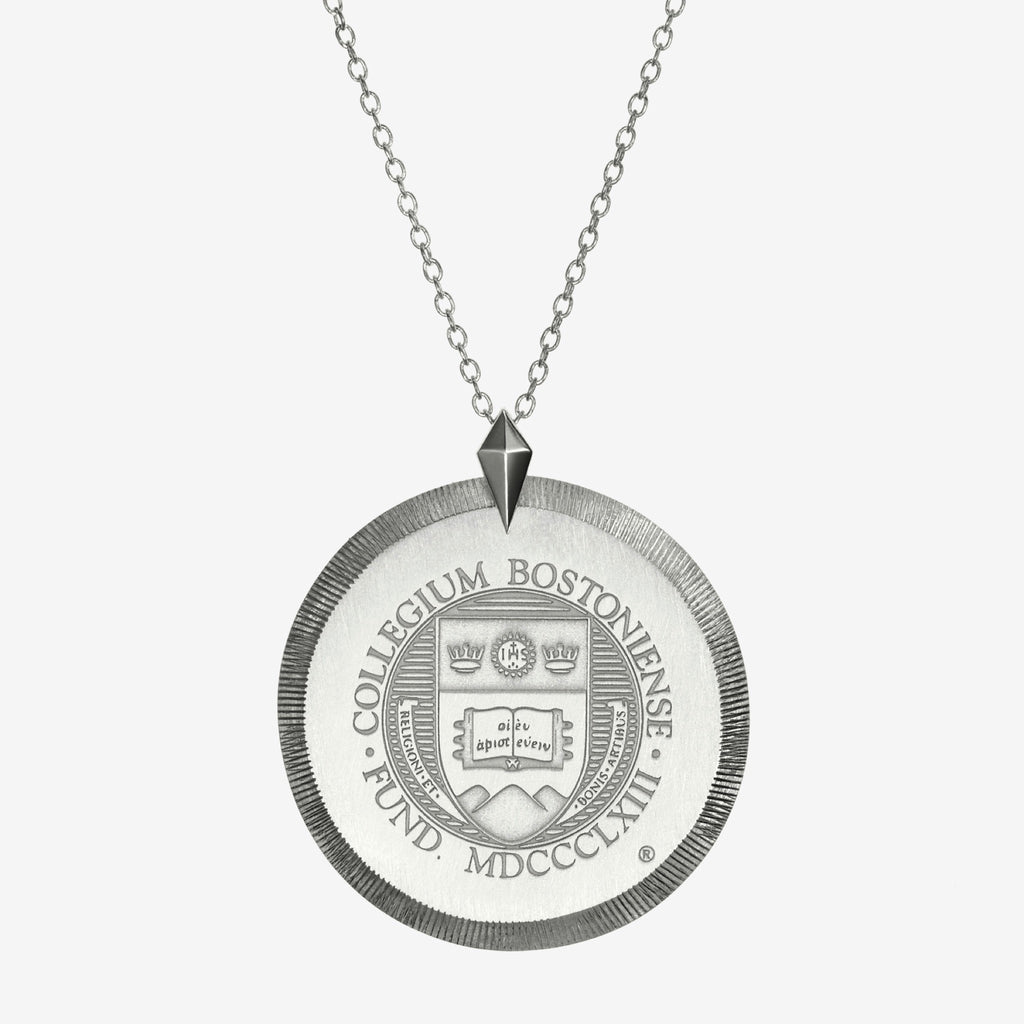 Silver Boston College Florentine Crest Necklace Large