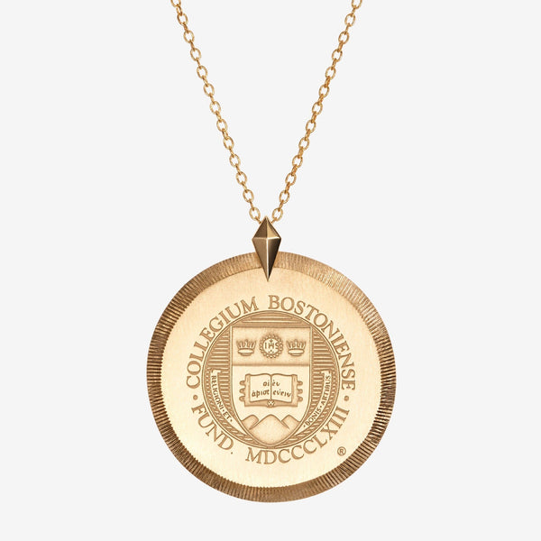 Gold Boston College Florentine Crest Necklace Large