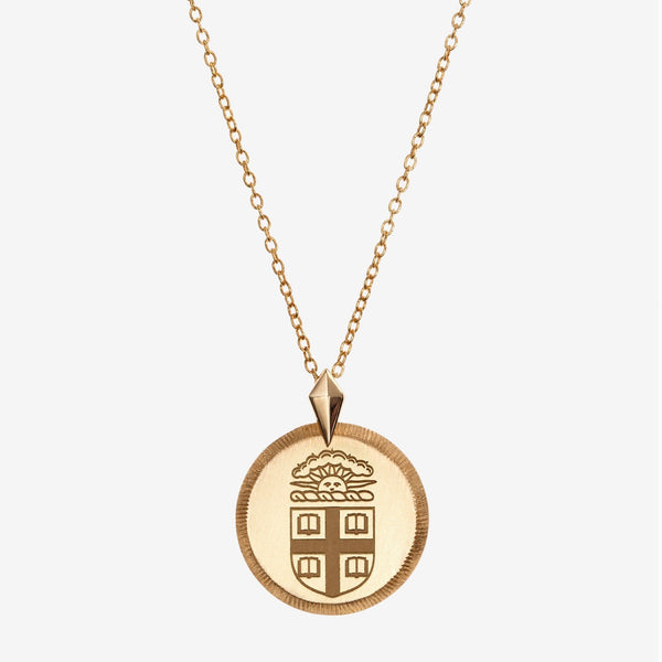 Gold Brown Florentine Crest Necklace