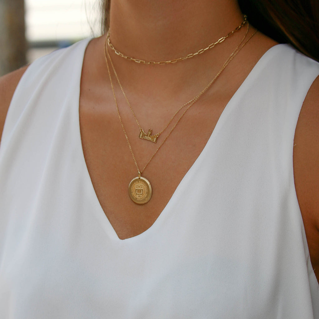 Gold Indiana Florentine IU Necklace on Figure