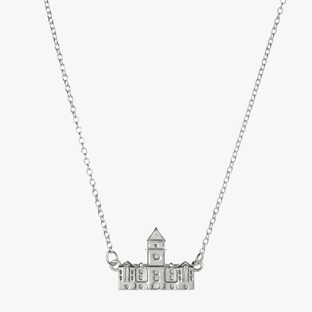 Silver Clemson Tillman Hall Necklace