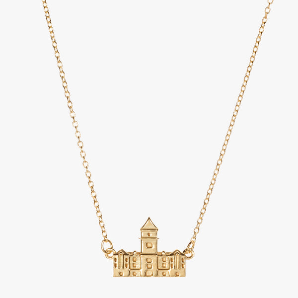 Gold Clemson Tillman Hall Necklace