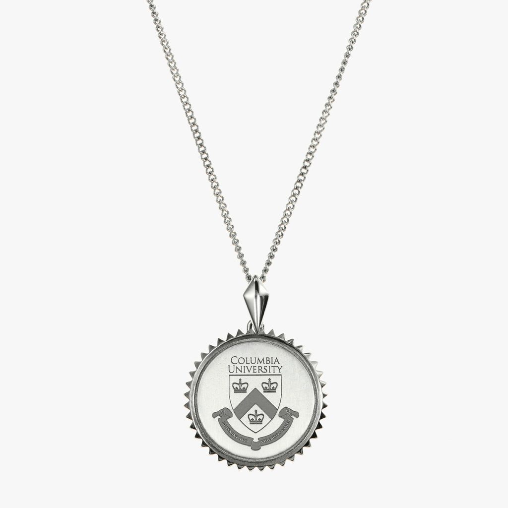Silver Columbia Sunburst Crest Necklace