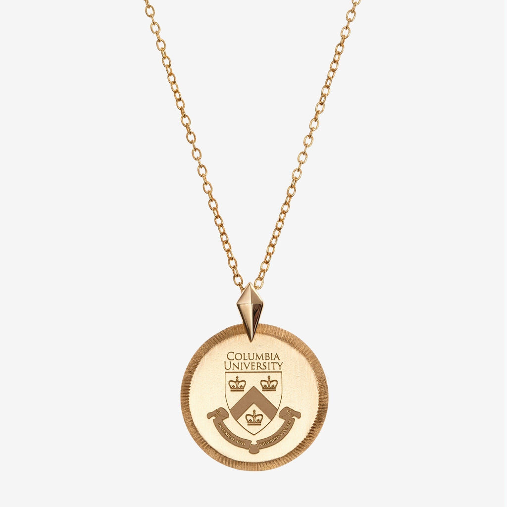 Gold Columbia Florentine Crest Necklace Petite
