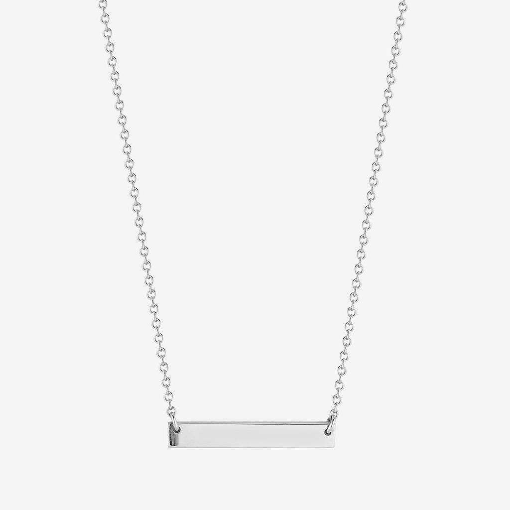 Personalized Horizontal Bar Necklace Silver