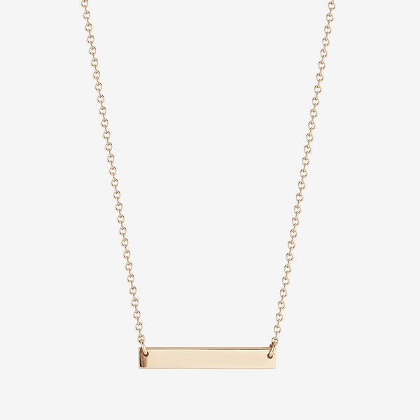 Personalized Horizontal Bar Necklace Gold