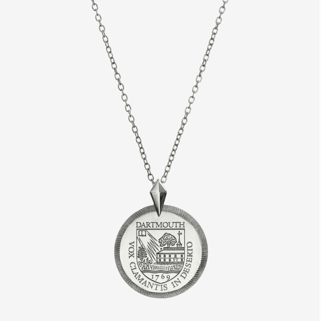Silver Dartmouth Florentine Crest Necklace  Petite