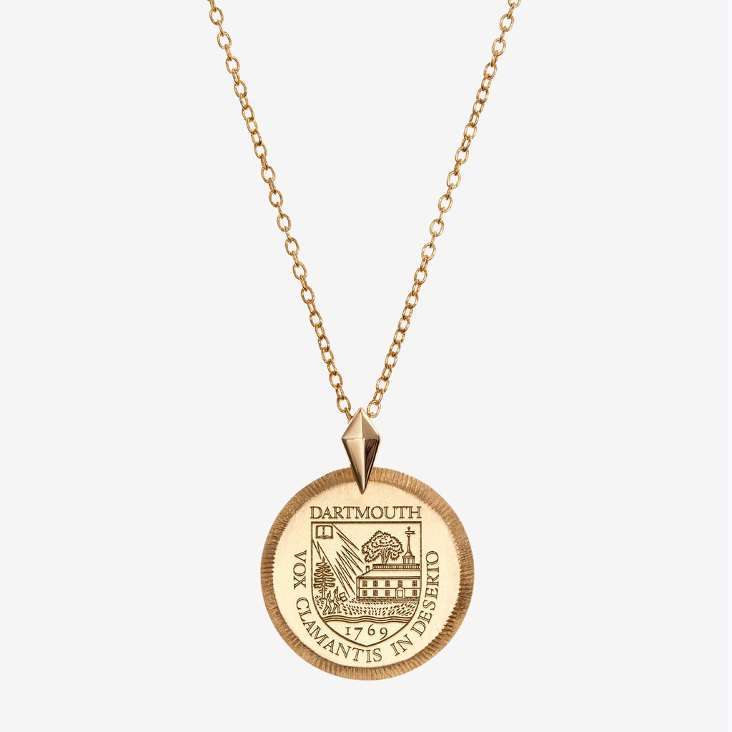 Gold Dartmouth Florentine Crest Necklace  Petite