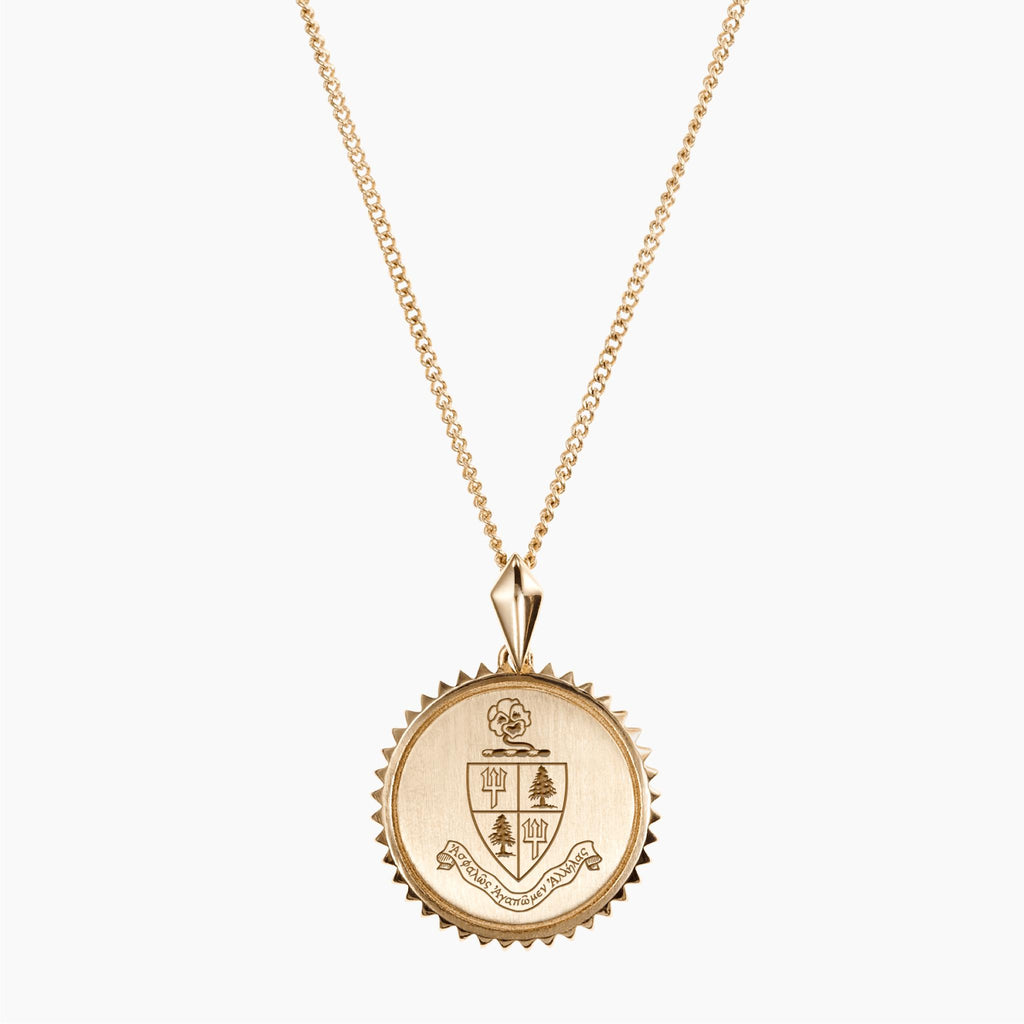 Gold Delta Delta Delta Sunburst Crest Necklace