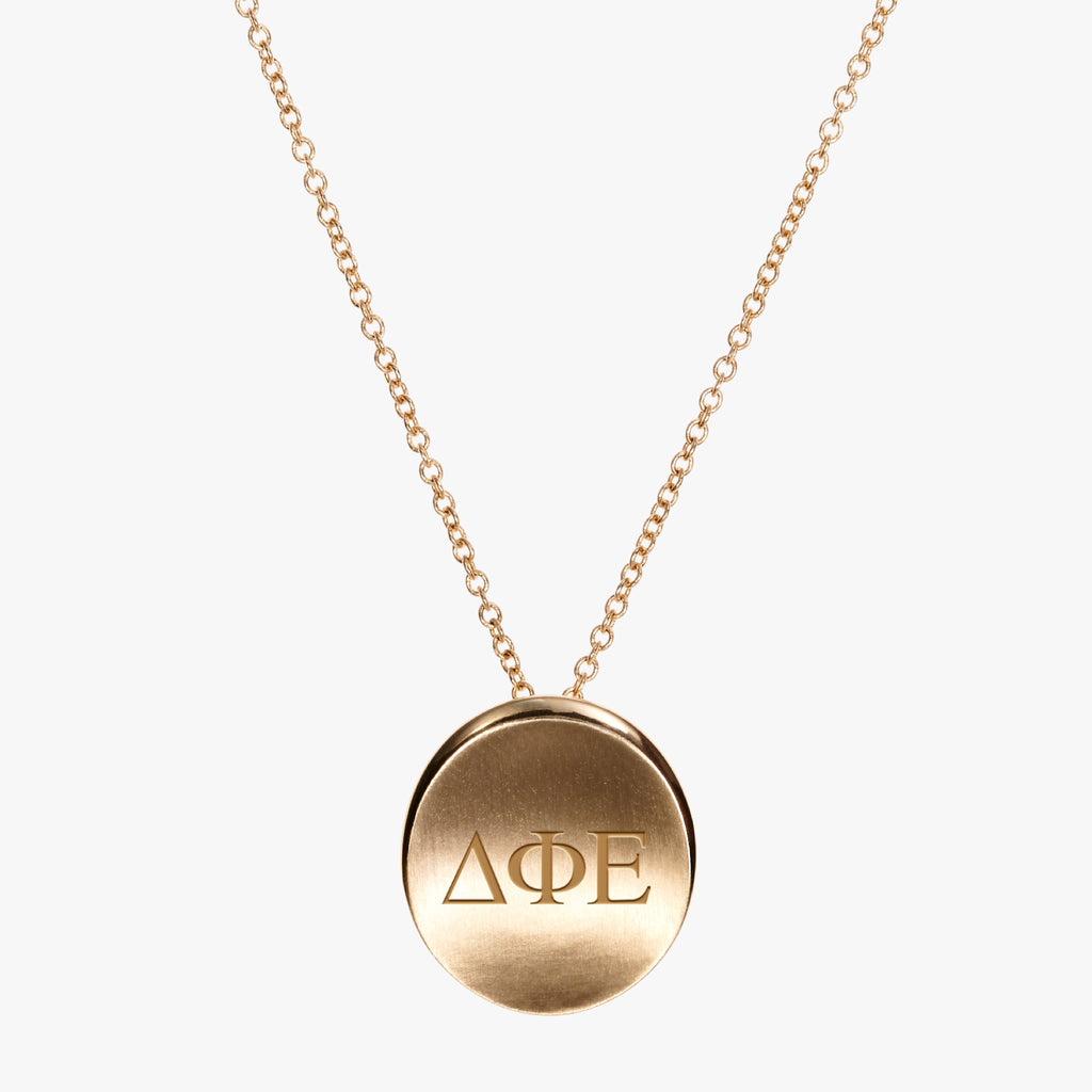 Gold Delta Phi Epsilon Letters Necklace