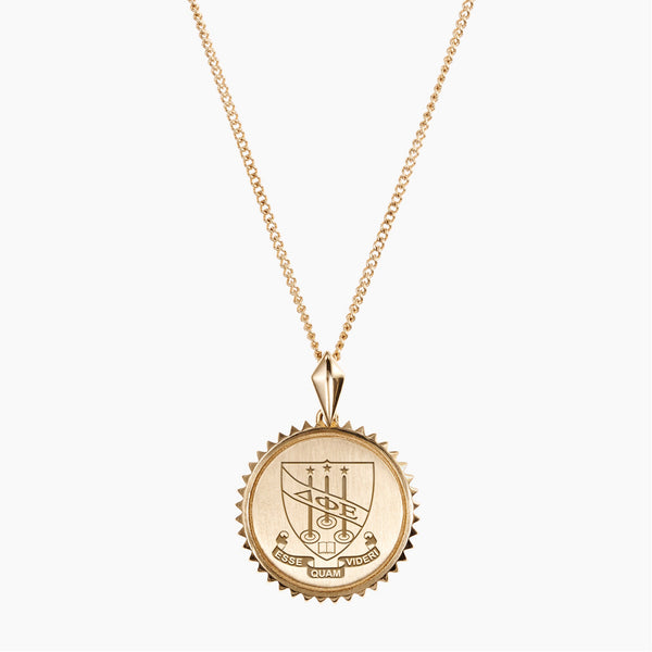 Gold Delta Phi Epsilon Sunburst Crest Necklace
