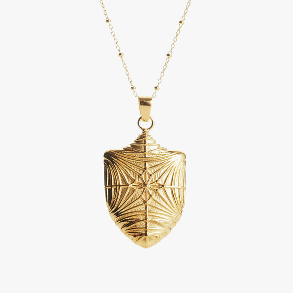 Duke Chapel Shield Necklace Gold