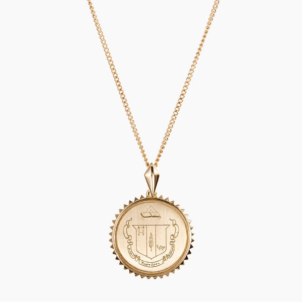 Gold Delta Zeta Sunburst Crest Necklace