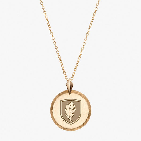 Gold Elon Florentine Leaf Necklace Petite