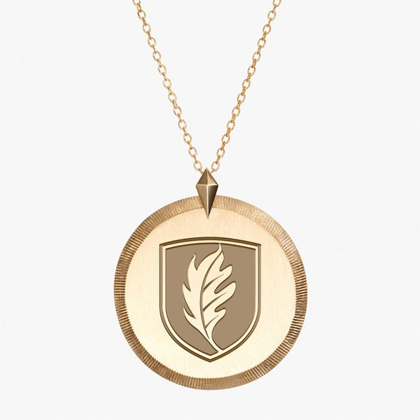Gold Elon Florentine Leaf Necklace