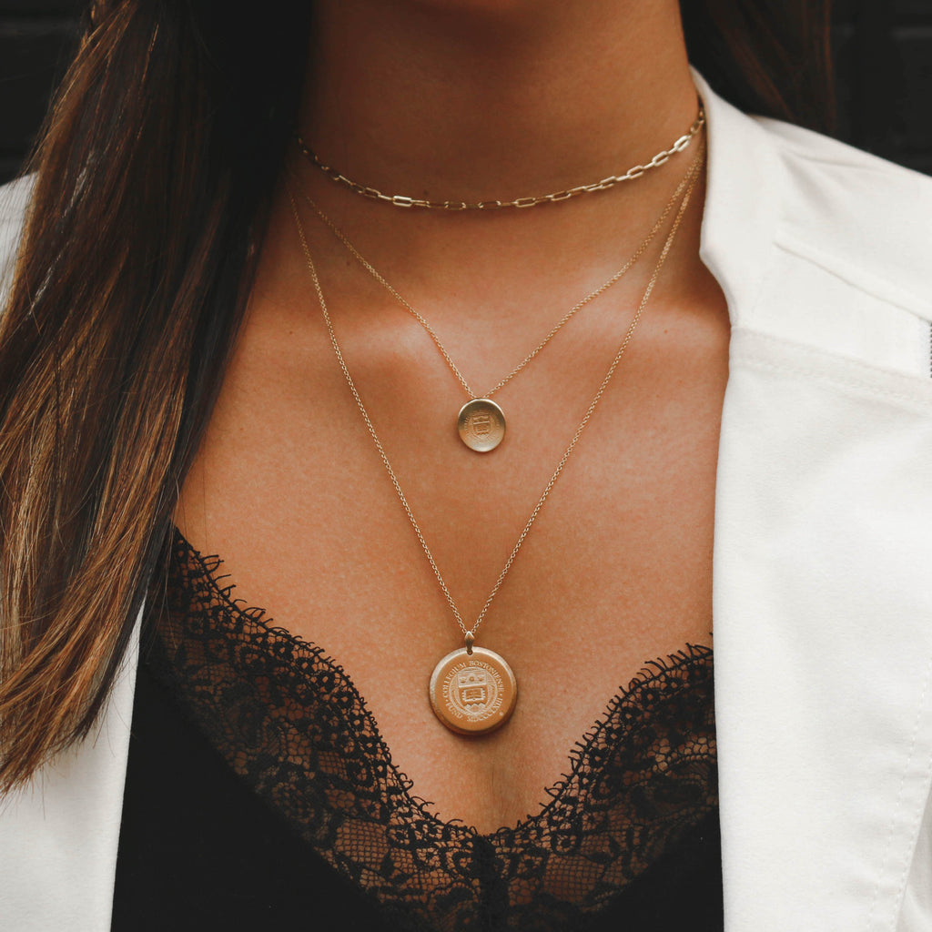 Gold College of Charleston Florentine Necklace on Figure