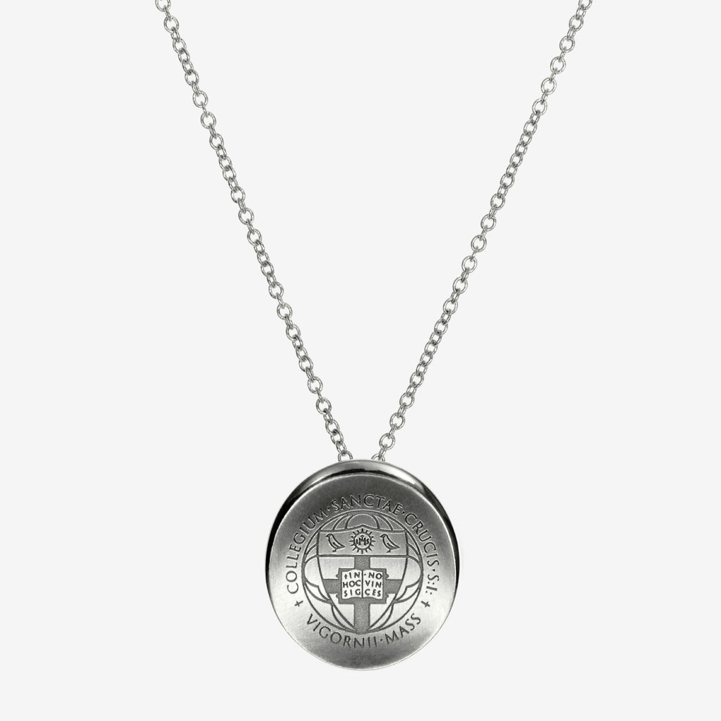 Silver Holy Cross Organic Crest Necklace