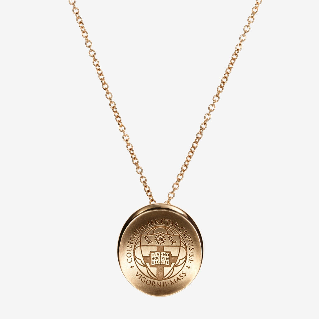 Gold Holy Cross Organic Crest Necklace