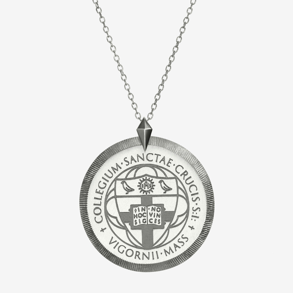 Silver Florentine Crest Necklace Large