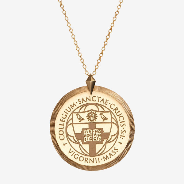 Gold Florentine Crest Necklace Large