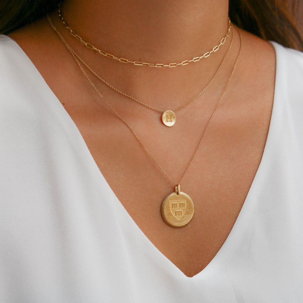 Gold Davidson D Necklace on Figure