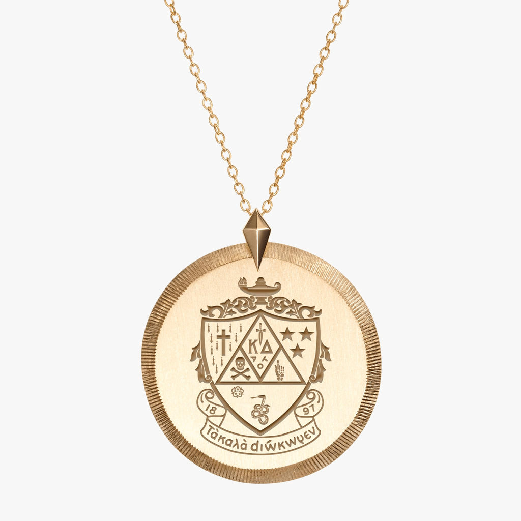 Gold Kappa Delta Florentine Crest Necklace