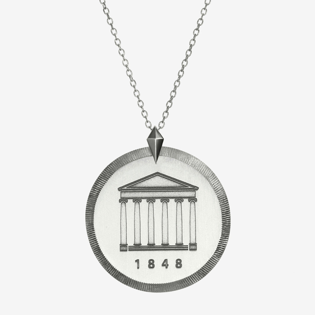 Silver Ole Miss Florentine Crest Necklace