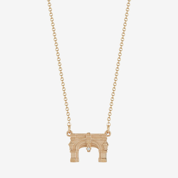 Miami Upham Arch Necklace with Diamond 14K Gold
