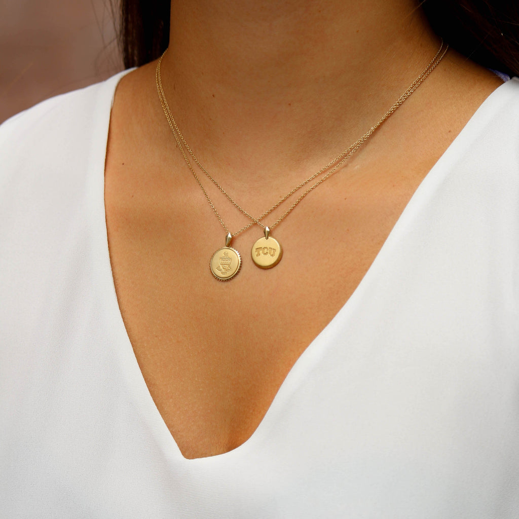 Gold Delaware Florentine Necklace Petite on Figure