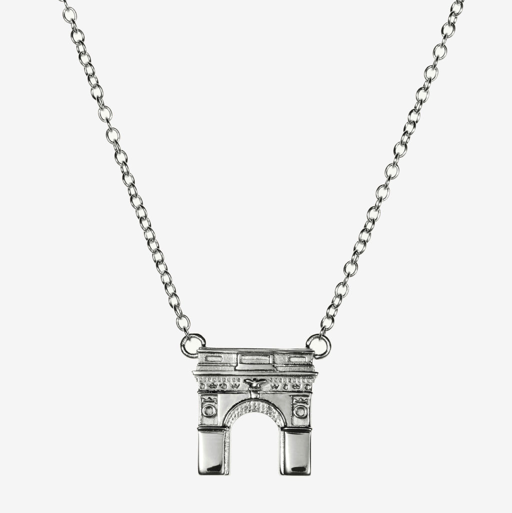 Silver NYU Washington Square Arch Necklace