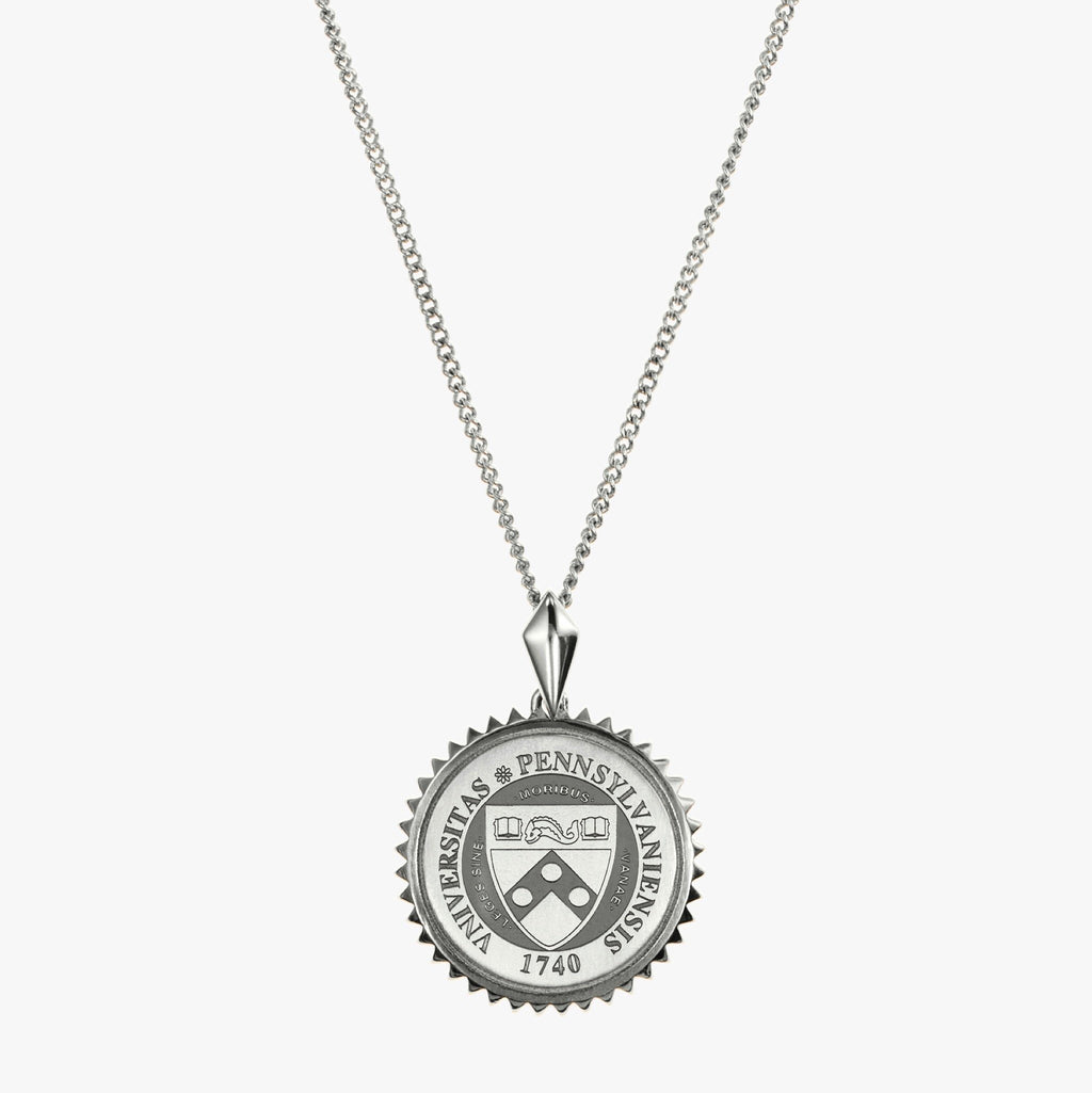 Silver Penn Sunburst Crest Necklace