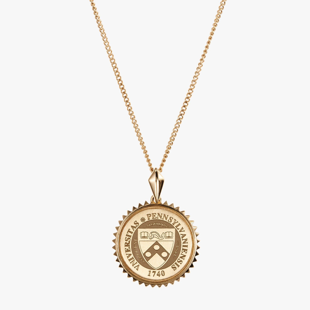 Gold Penn Sunburst Crest Necklace