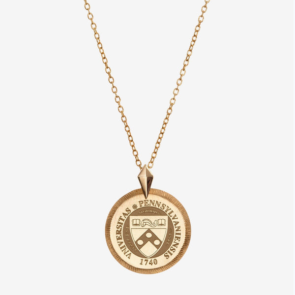 Gold Penn Florentine Crest Necklace