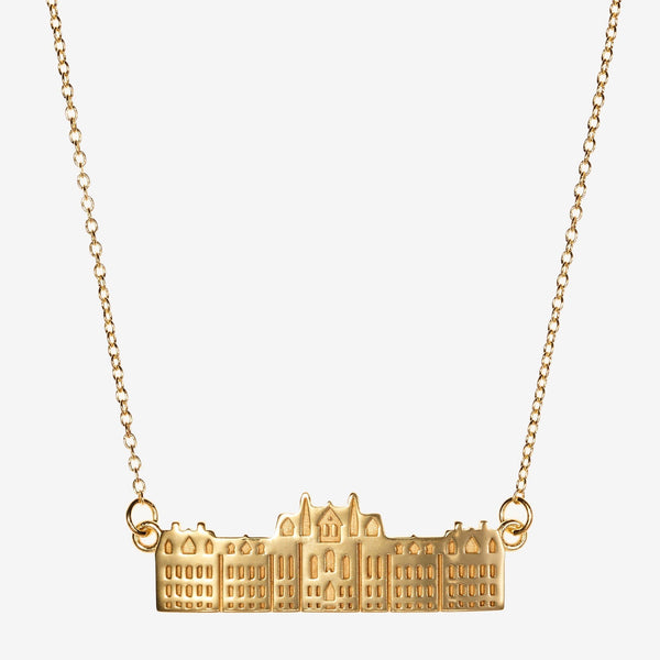 Gold Penn College Hall Architecture Necklace