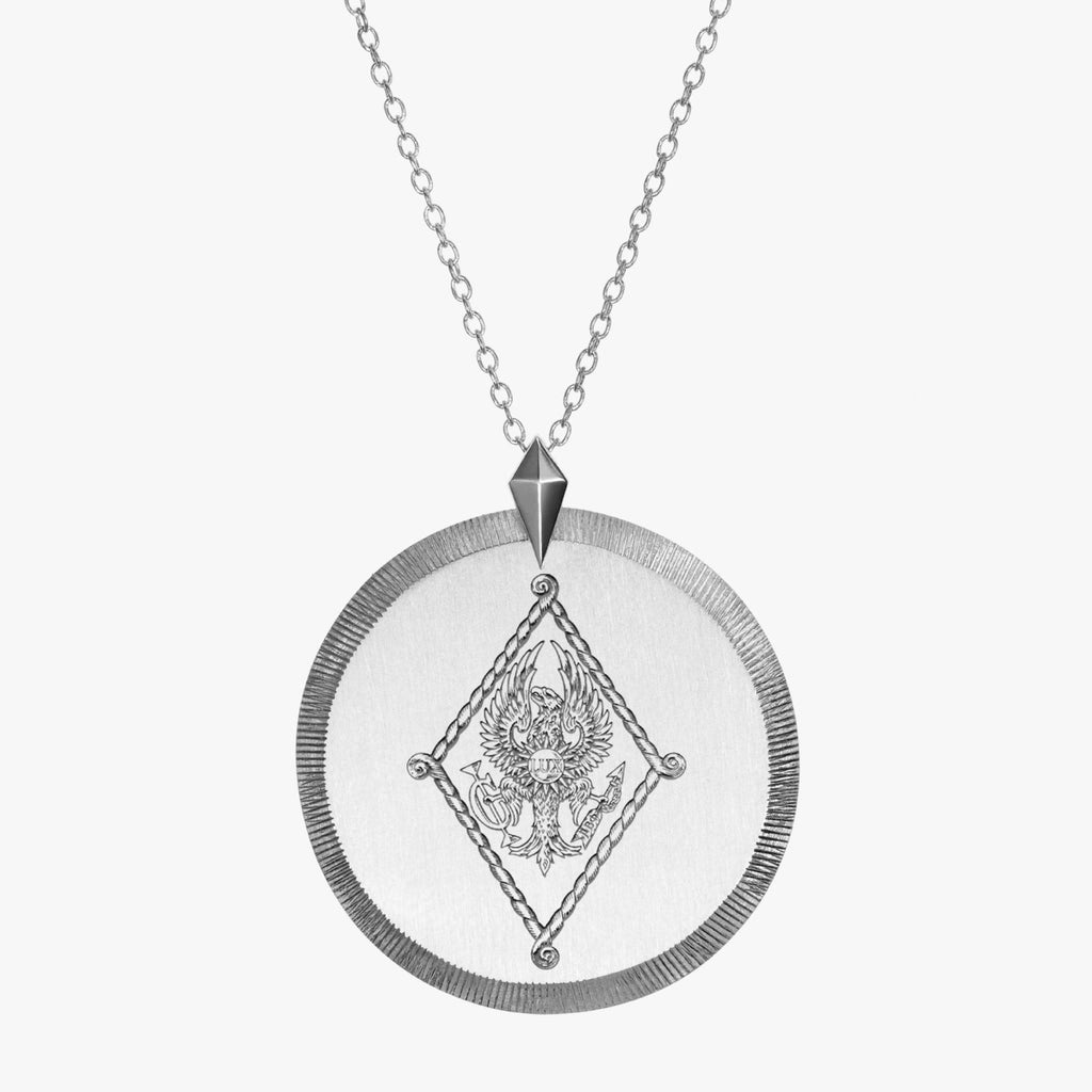 Silver Pi Beta Phi Florentine Crest Necklace